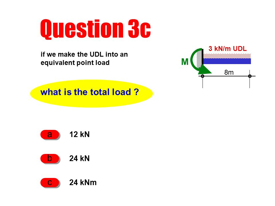 Question 3c what is the total load .