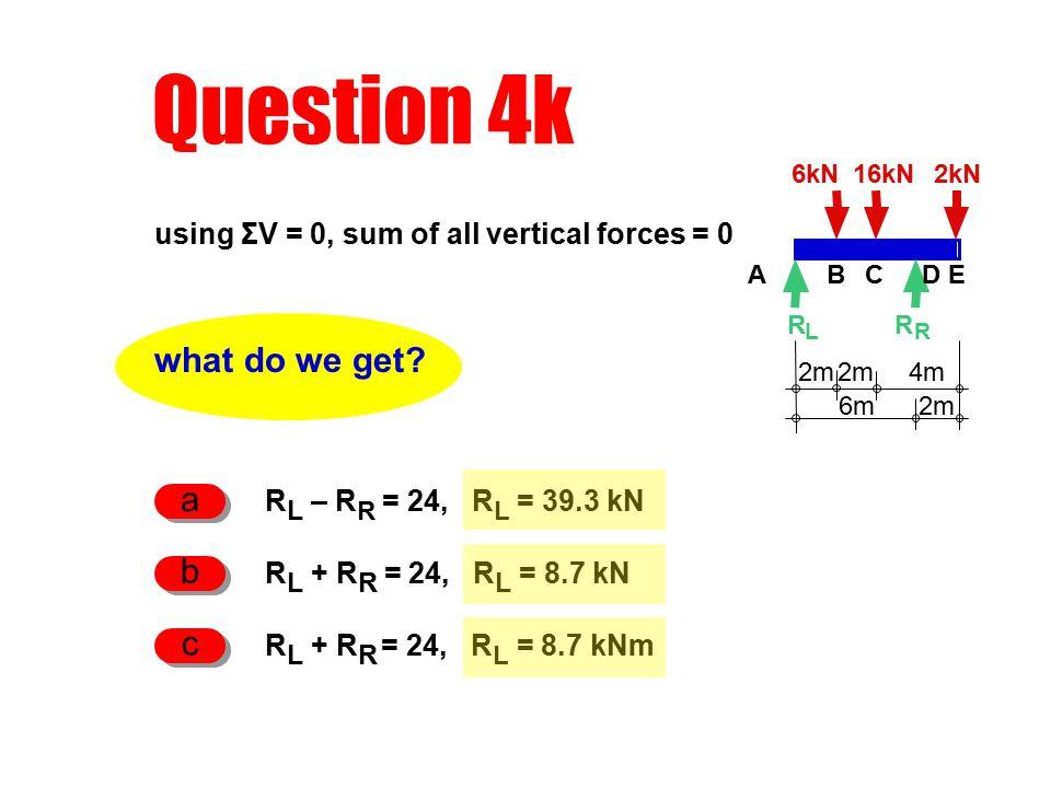 Question 4k 6kN2kN R L 2m 4m R R 16kN ABCDE 2m6m what do we get.