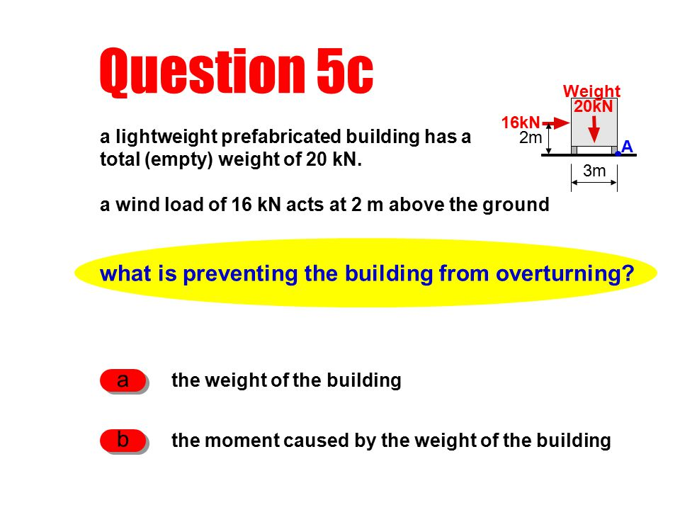 Question 5c what is preventing the building from overturning.