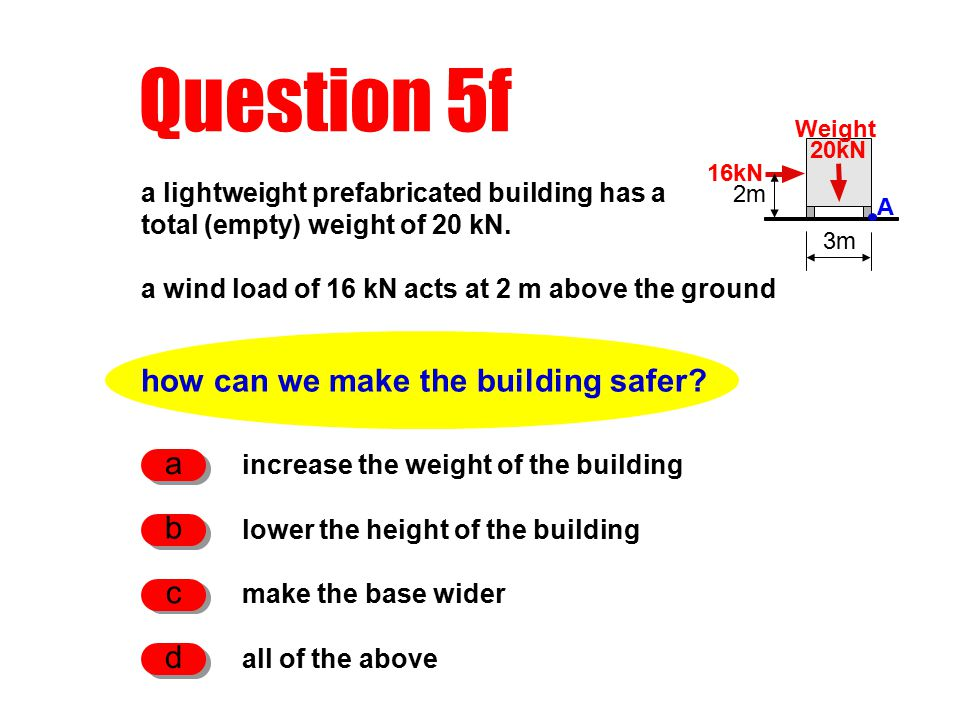Question 5f how can we make the building safer.