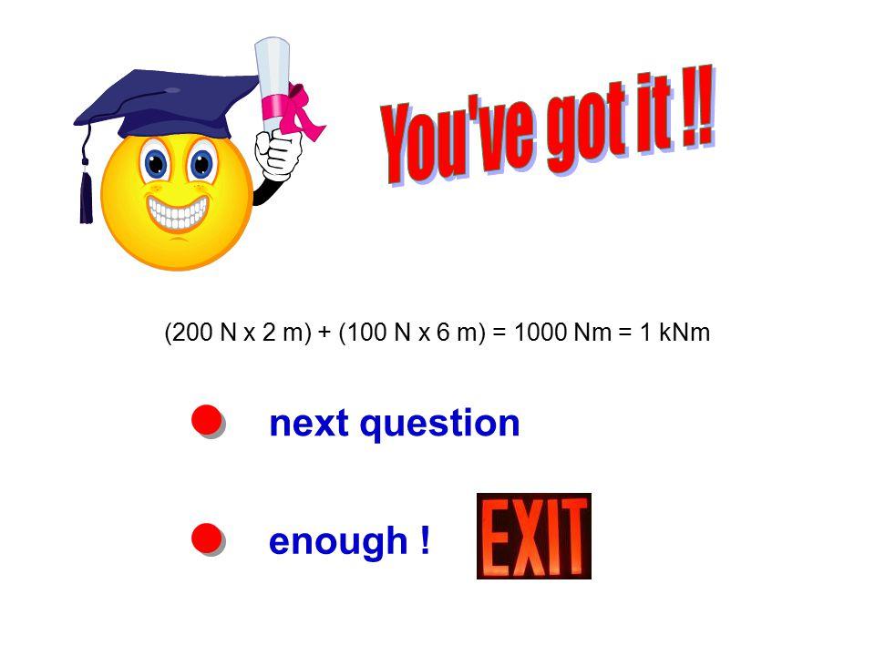 next question enough ! (200 N x 2 m) + (100 N x 6 m) = 1000 Nm = 1 kNm