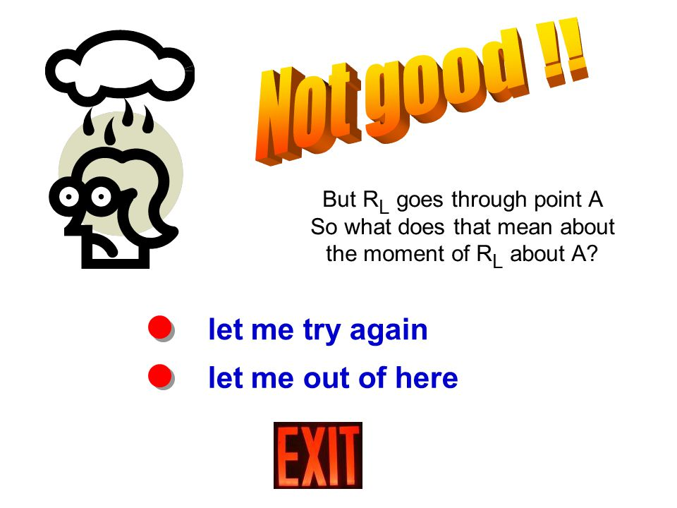 let me try again let me out of here But R L goes through point A So what does that mean about the moment of R L about A