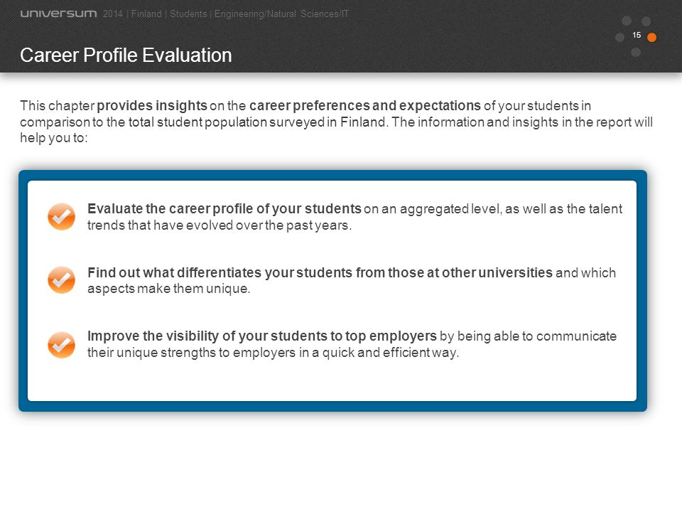 15 Career Profile Evaluation This chapter provides insights on the career preferences and expectations of your students in comparison to the total stu