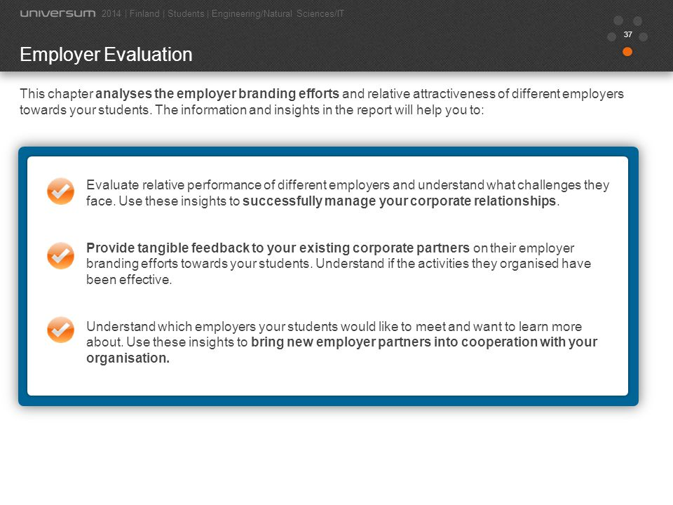 37 Employer Evaluation This chapter analyses the employer branding efforts and relative attractiveness of different employers towards your students. T