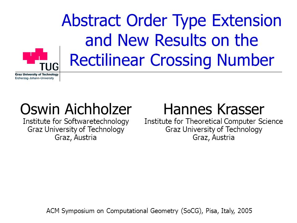 Abstract Order Type Extension and New Results on the Rectilinear Crossing Number Oswin Aichholzer Institute for Softwaretechnology Graz University of Technology Graz, Austria Hannes Krasser Institute for Theoretical Computer Science Graz University of Technology Graz, Austria ACM Symposium on Computational Geometry (SoCG), Pisa, Italy, 2005