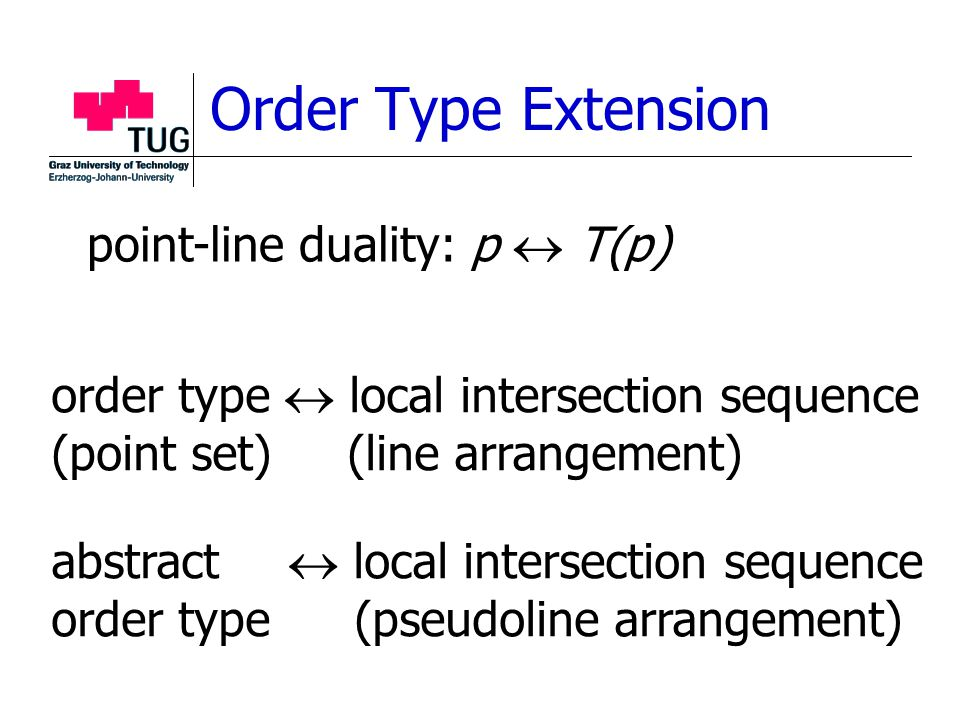 Order Type Extension order type  local intersection sequence (point set) (line arrangement) point-line duality: p  T(p) abstract  local intersection sequence order type (pseudoline arrangement)