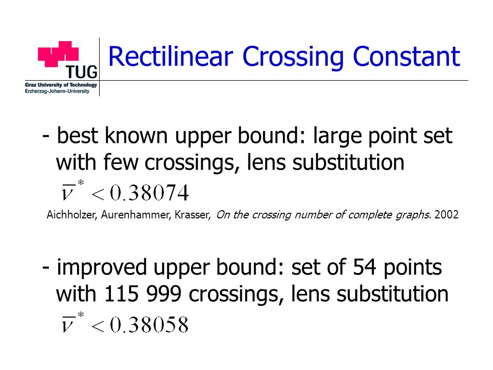 - best known upper bound: large point set with few crossings, lens substitution - improved upper bound: set of 54 points with 115 999 crossings, lens substitution Rectilinear Crossing Constant Aichholzer, Aurenhammer, Krasser, On the crossing number of complete graphs.