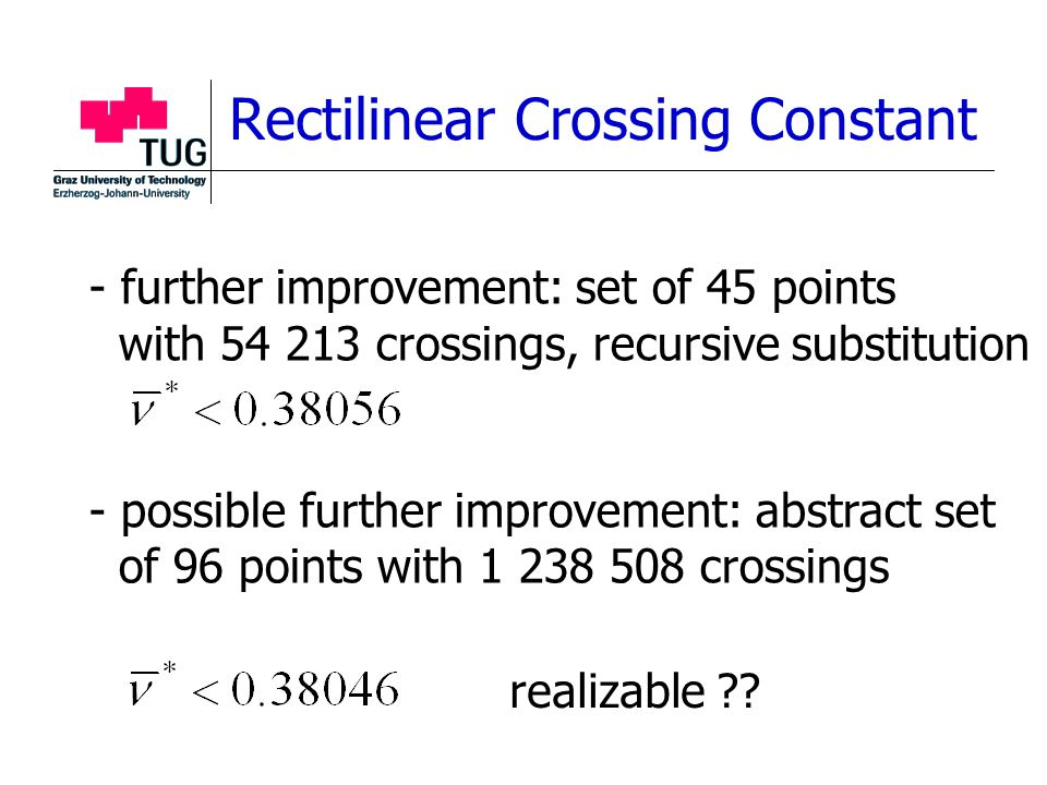 - further improvement: set of 45 points with 54 213 crossings, recursive substitution - possible further improvement: abstract set of 96 points with 1 238 508 crossings Rectilinear Crossing Constant realizable