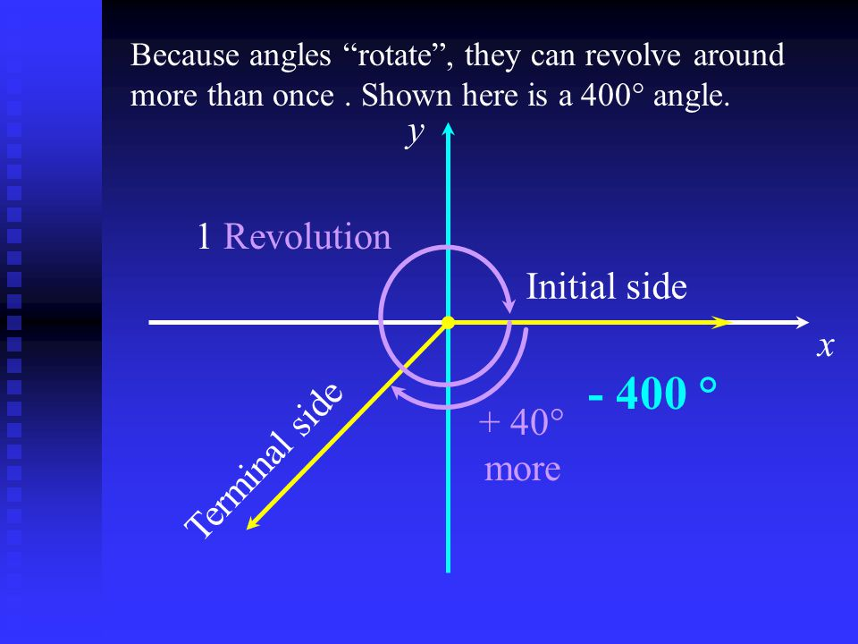 x y Initial side 1 Revolution Terminal side Because angles rotate , they can revolve around more than once.