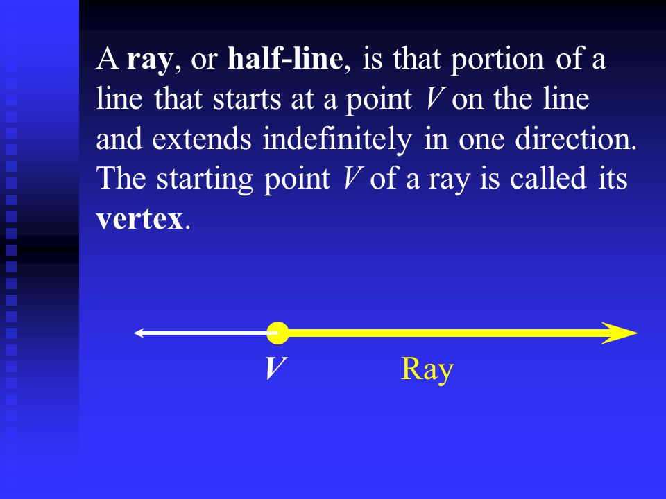 A ray, or half-line, is that portion of a line that starts at a point V on the line and extends indefinitely in one direction. The starting point V of