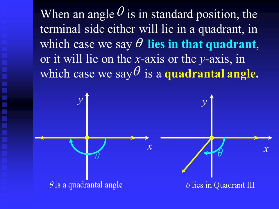 When an angle is in standard position, the terminal side either will lie in a quadrant, in which case we say lies in that quadrant, or it will lie on