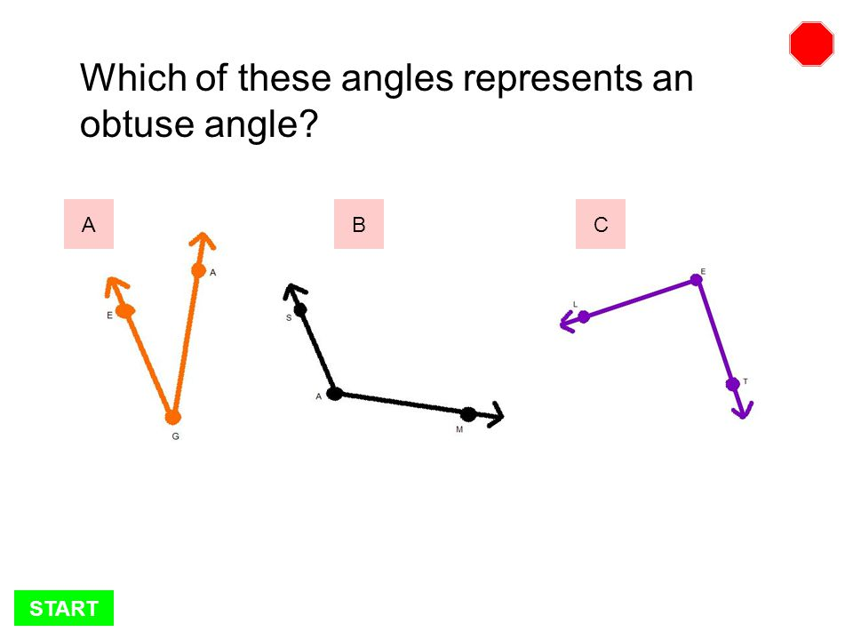 START Which of these angles represents an acute angle BCA