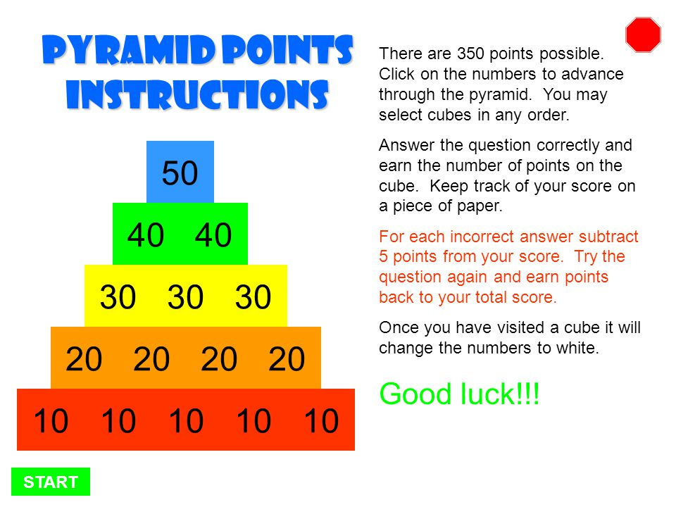START There are 350 points possible.Click on the numbers to advance through the pyramid.