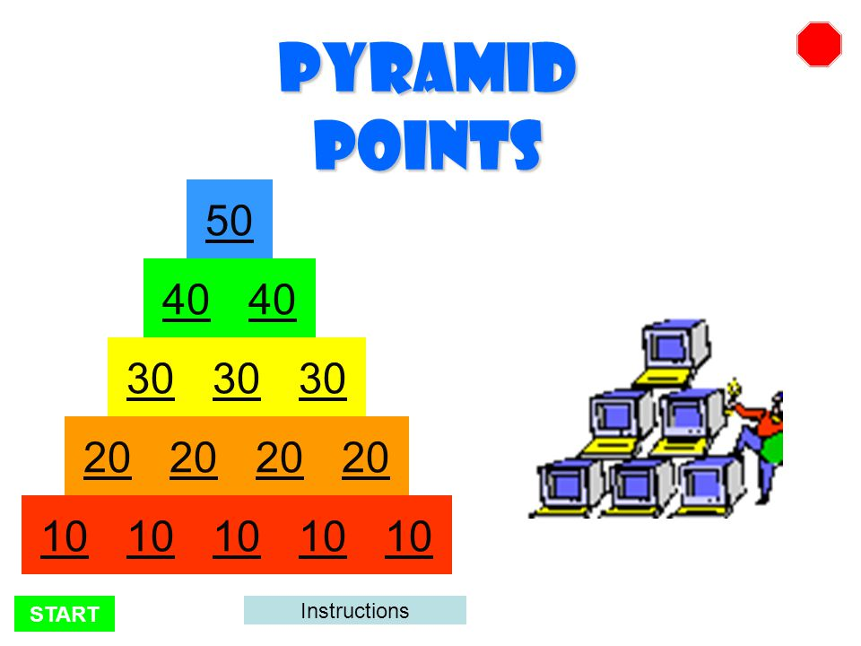 START There are 350 points possible. Click on the numbers to advance through the pyramid.