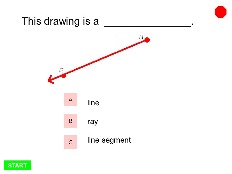 START This drawing is a _______________. A B C line ray line segment