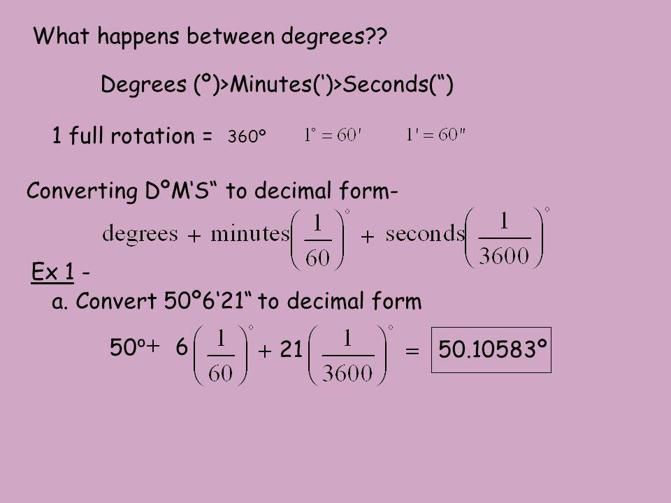 b. Convert 21.256º to DºM'S form Use the calculator!!