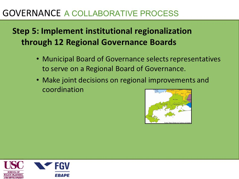 Step 5: Implement institutional regionalization through 12 Regional Governance Boards Municipal Board of Governance selects representatives to serve on a Regional Board of Governance.