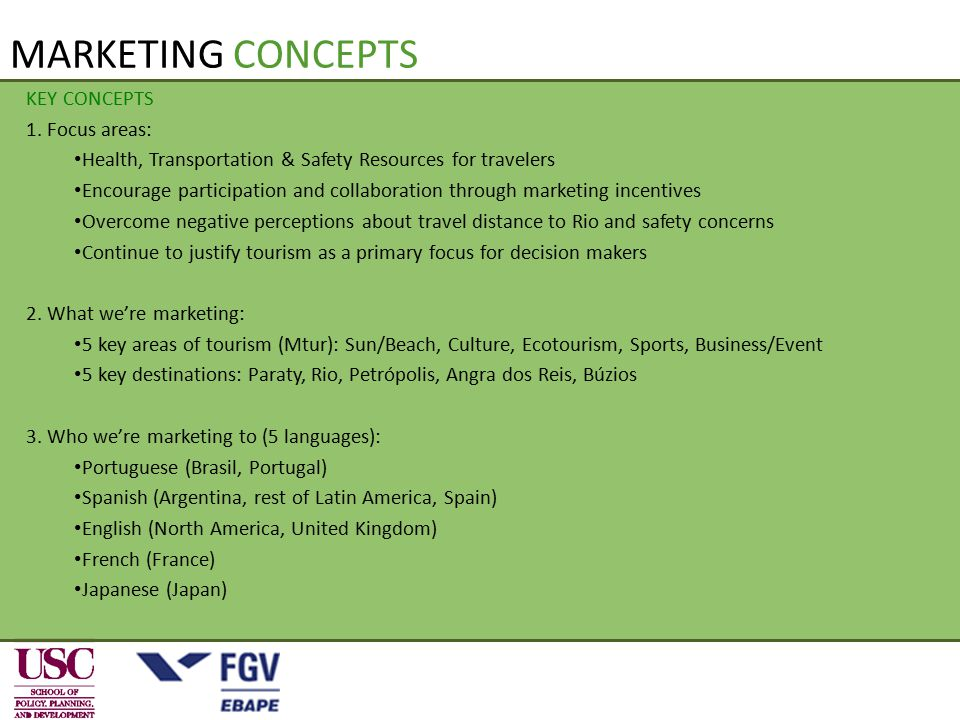 KEY CONCEPTS 1. Focus areas: Health, Transportation & Safety Resources for travelers Encourage participation and collaboration through marketing incen