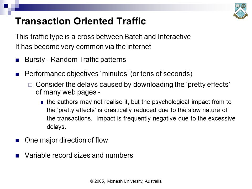 © 2005, Monash University, Australia BATCH Traffic These types of traffic flows were the norm before interactive terminals became common.
