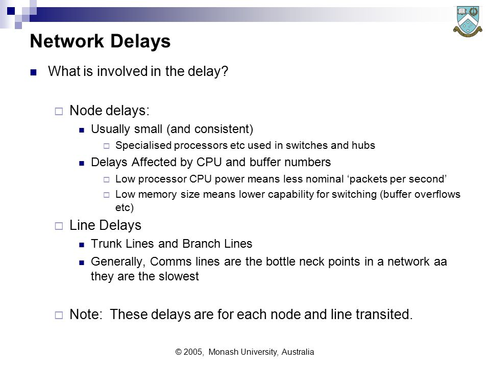 © 2005, Monash University, Australia Network Delay and Response Times A small example
