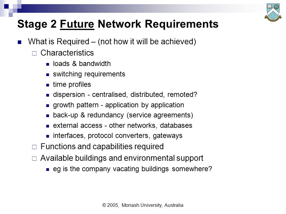 © 2005, Monash University, Australia Stage 1 Analysis of Existing Network This stage provides information & insight into organisation:  how the existing facilities work, and how well Network topology and organisation weaknesses & strengths – networks, applications, people satisfaction or unhappiness of the user community  traffic loads now in future, both existing systems (up/down) and future systems (really stage 2) dispersal and characteristics of communications traffic aggregated traffic collections criticality  working lives of existing equipments.