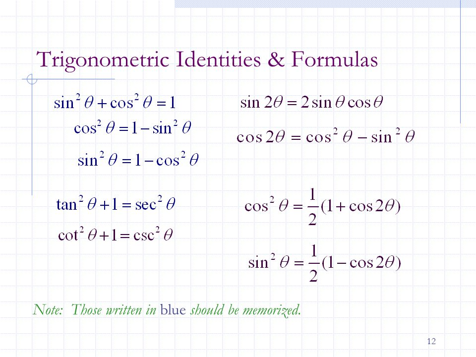 12 Trigonometric Identities & Formulas Note: Those written in blue should be memorized.