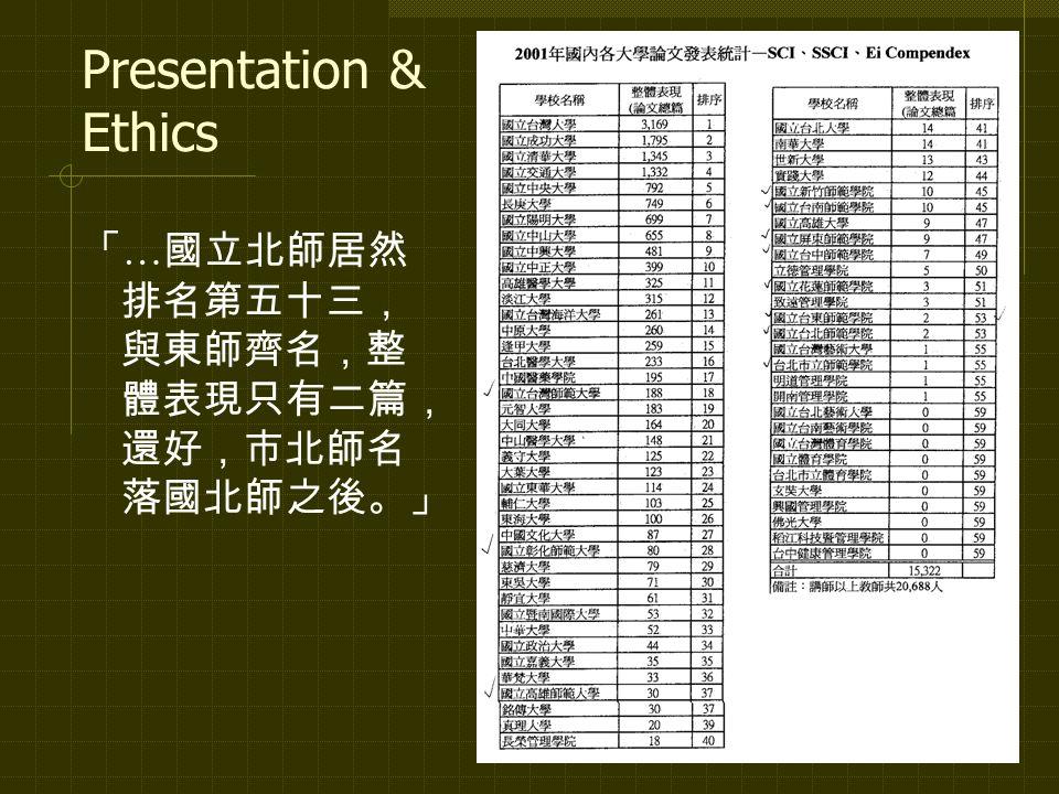Presentation & Ethics 「 … 國立北師居然 排名第五十三, 與東師齊名,整 體表現只有二篇, 還好,市北師名 落國北師之後。」
