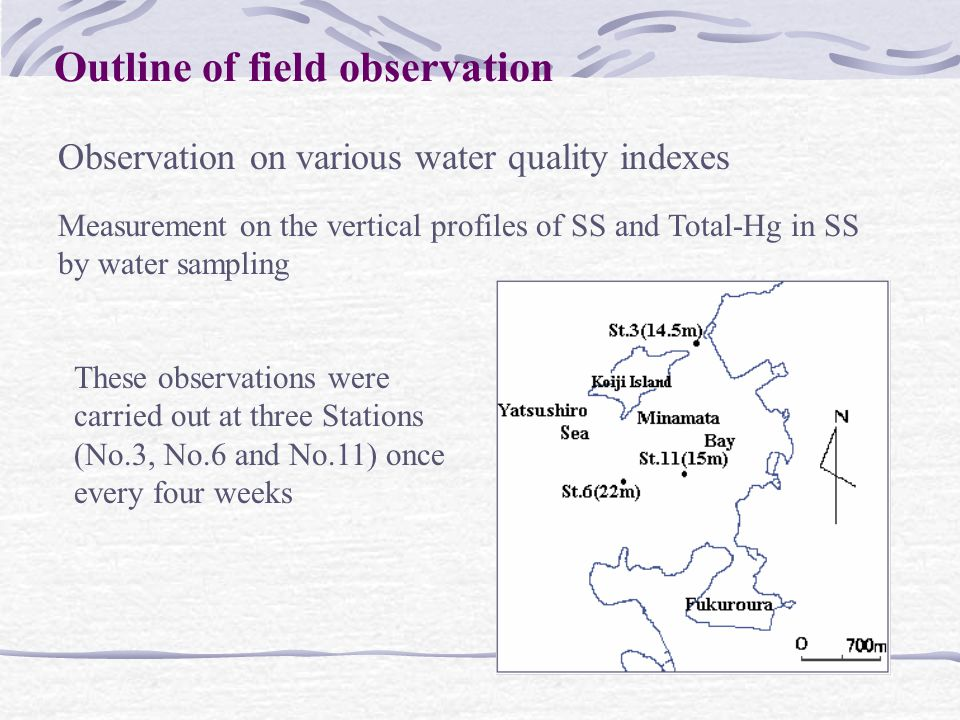 Observation on various water quality indexes Measurement on the vertical profiles of SS and Total-Hg in SS by water sampling These observations were carried out at three Stations (No.3, No.6 and No.11) once every four weeks Outline of field observation
