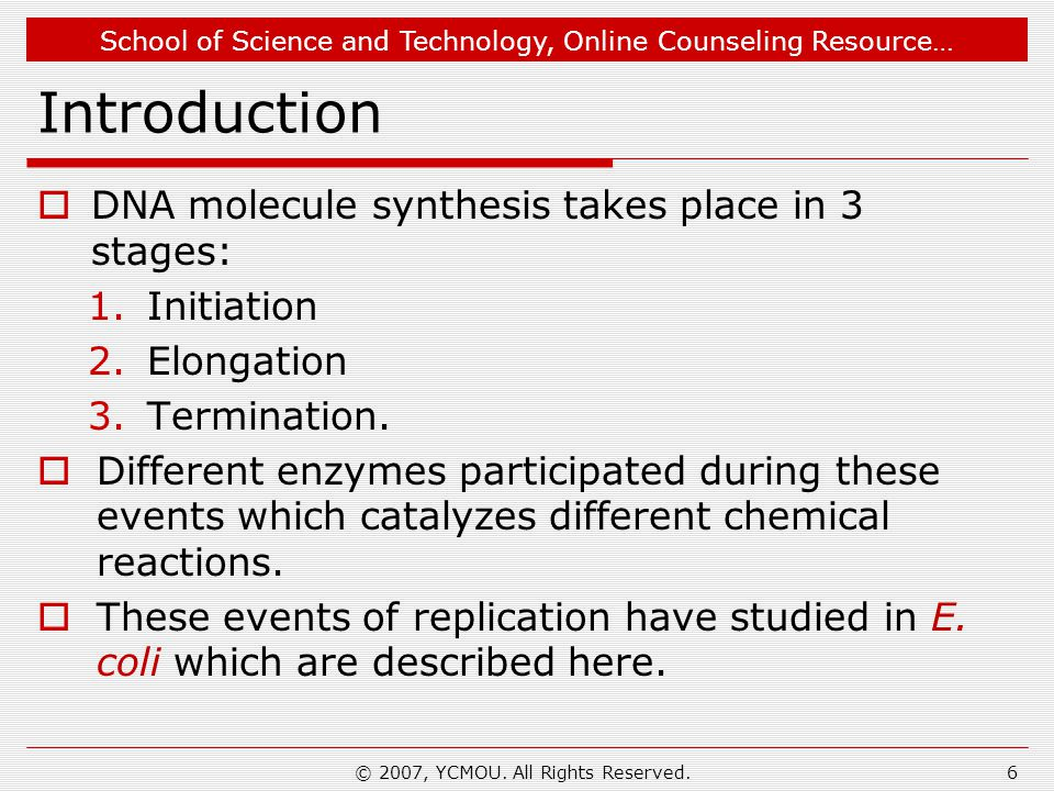School of Science and Technology, Online Counseling Resource… Introduction  DNA molecule synthesis takes place in 3 stages: 1.Initiation 2.Elongation