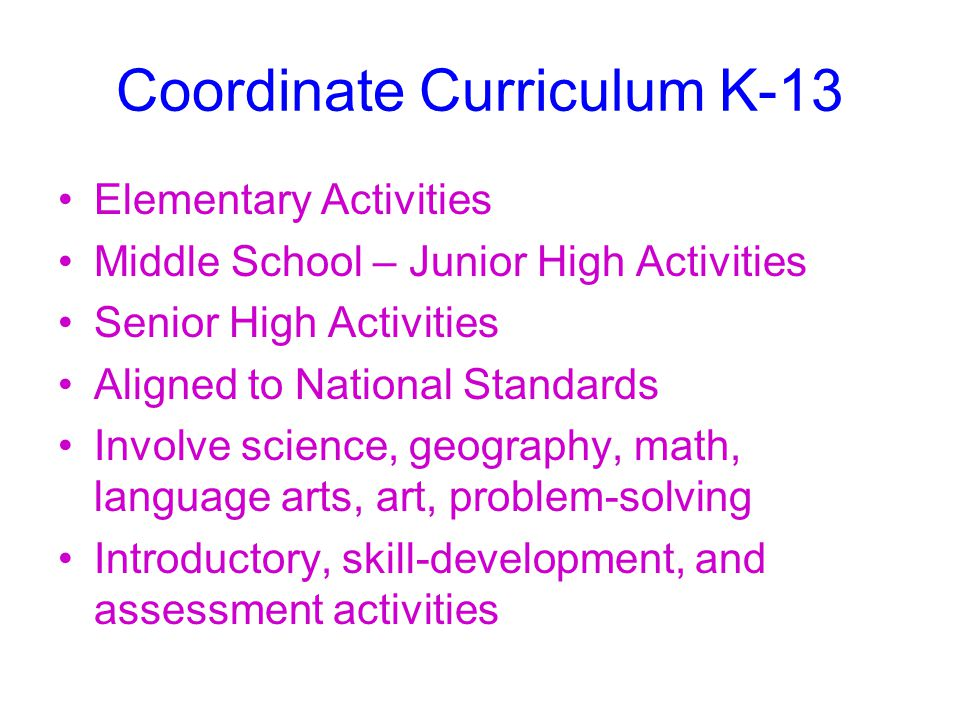 Coordinate Curriculum K-13 Elementary Activities Middle School – Junior High Activities Senior High Activities Aligned to National Standards Involve science, geography, math, language arts, art, problem-solving Introductory, skill-development, and assessment activities