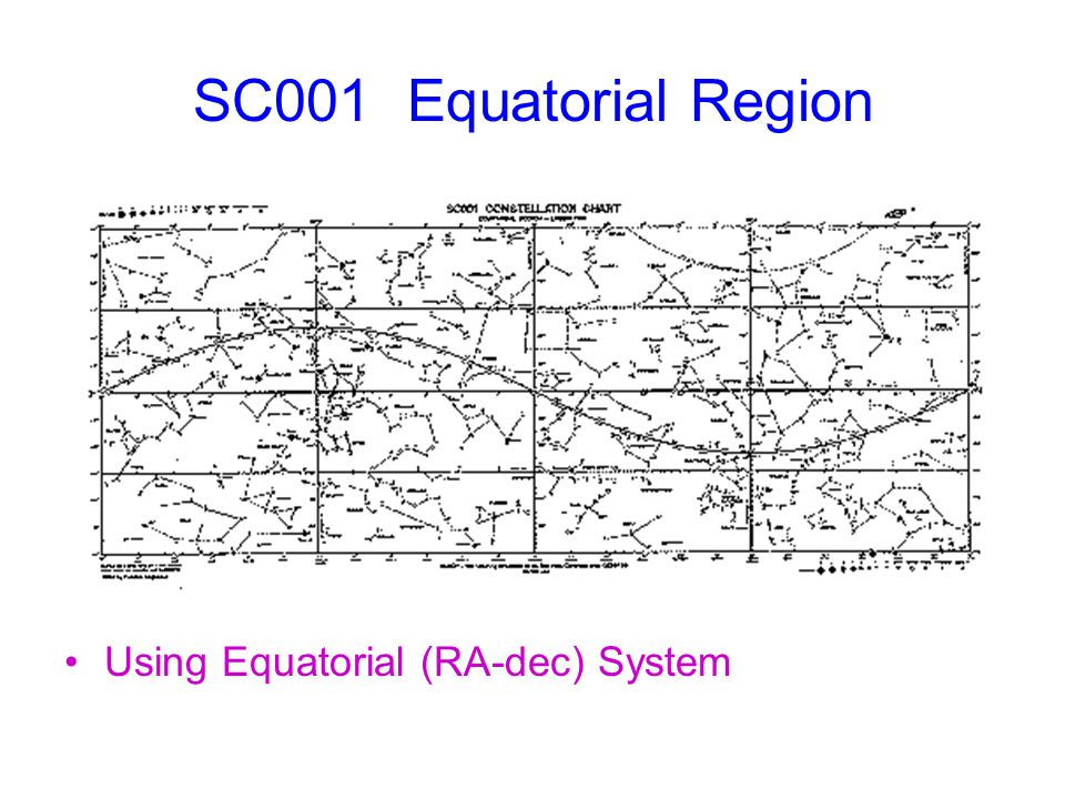 SC001 Equatorial Region Using Equatorial (RA-dec) System