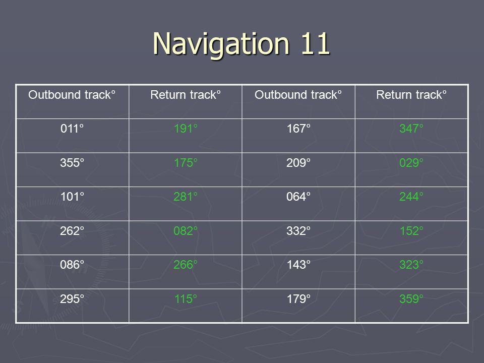 Navigation 11 Outbound track°Return track°Outbound track°Return track° 011°191°167°347° 355°175°209°029° 101°281°064°244° 262°082°332°152° 086°266°143