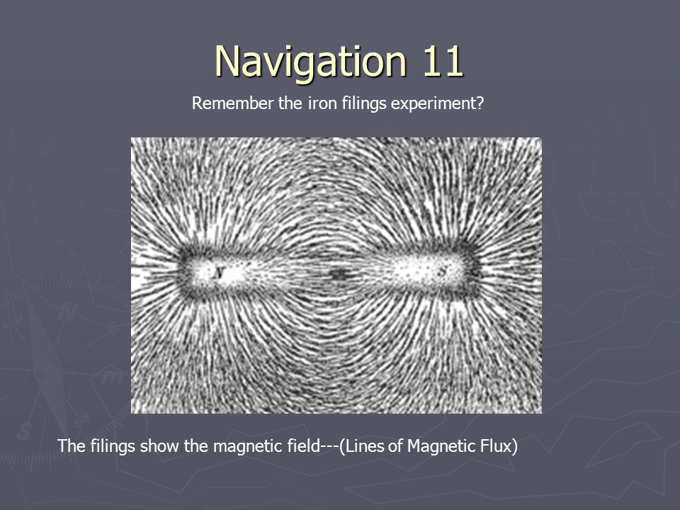 Navigation 11 Remember the iron filings experiment? The filings show the magnetic field---(Lines of Magnetic Flux)