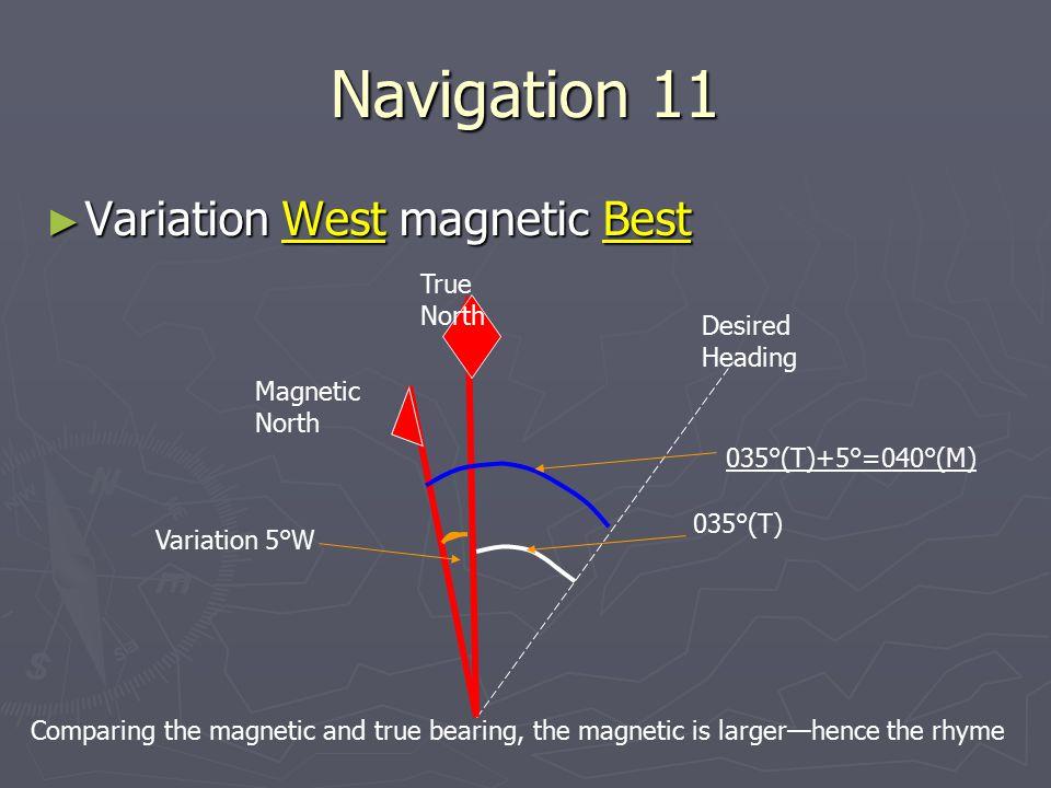 Navigation 11 ► Variation West magnetic Best True North Desired Heading 035°(T) Magnetic North Variation 5°W 035°(T)+5°=040°(M) Comparing the magnetic