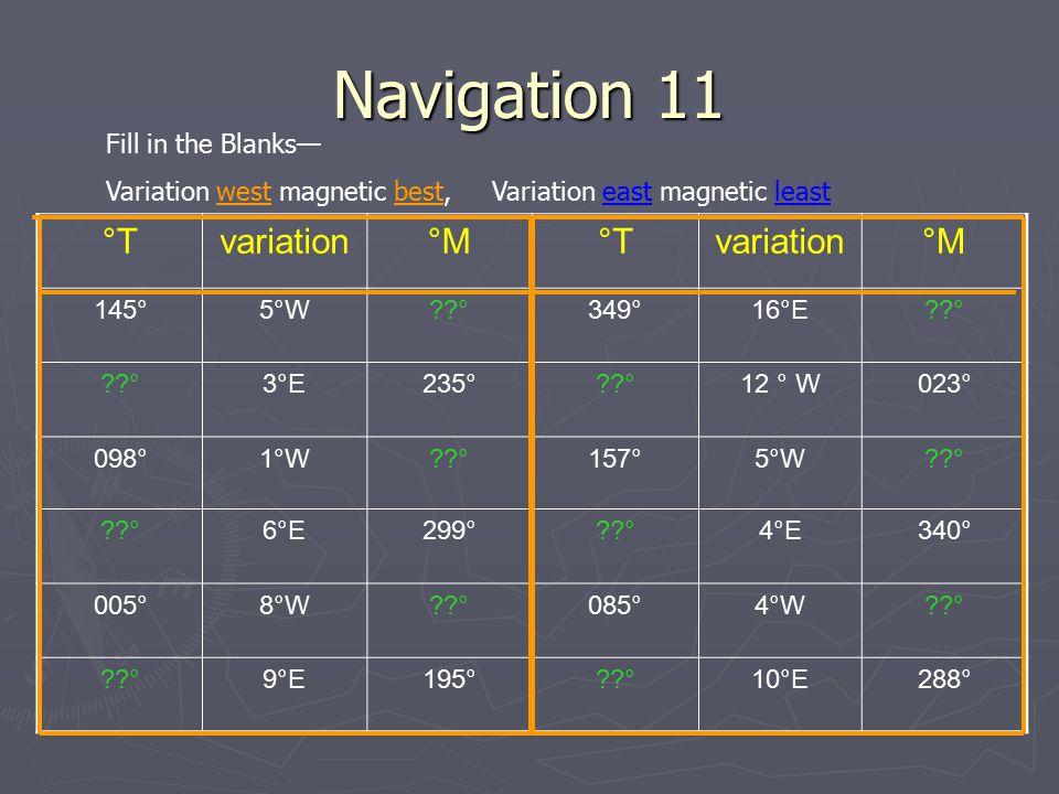 Navigation 11 °Tvariation°M°Tvariation°M 145°5°W??°349°16°E??° 3°E235°??°12 ° W023° 098°1°W??°157°5°W??° 6°E299°??°4°E340° 005°8°W??°085°4°W??° 9°E195