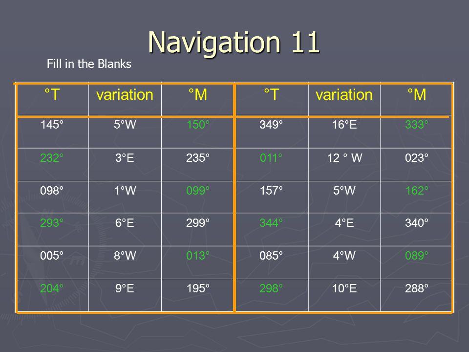 Navigation 11 °Tvariation°M°Tvariation°M 145°5°W150°349°16°E333° 232°3°E235°011°12 ° W023° 098°1°W099°157°5°W162° 293°6°E299°344°4°E340° 005°8°W013°08