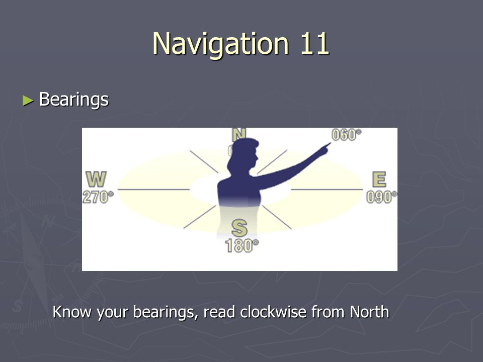 Navigation 11 ► Bearings Know your bearings, read clockwise from North
