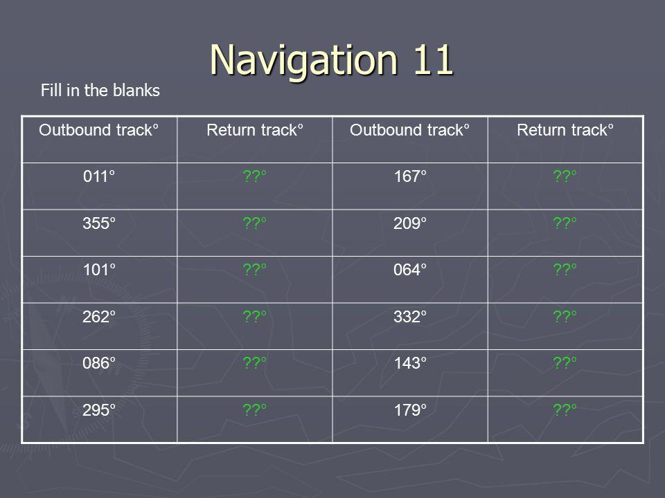 Navigation 11 Outbound track°Return track°Outbound track°Return track° 011°??°167°??° 355°??°209°??° 101°??°064°??° 262°??°332°??° 086°??°143°??° 295°