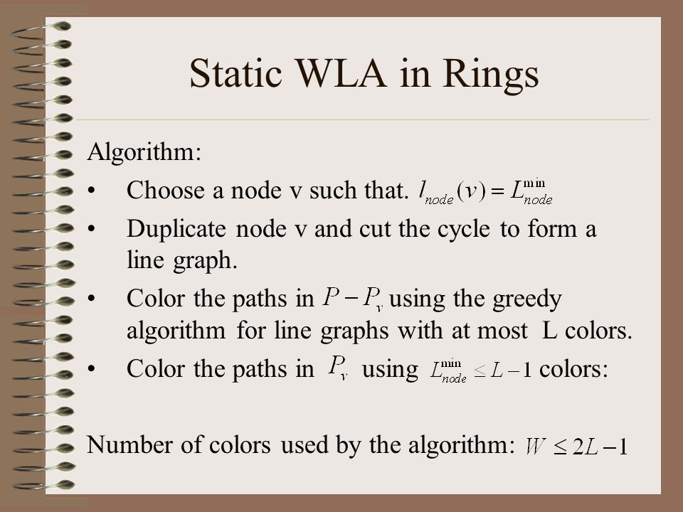 Static WLA in Rings Algorithm: Choose a node v such that. Duplicate node v and cut the cycle to form a line graph. Color the paths in using the greedy