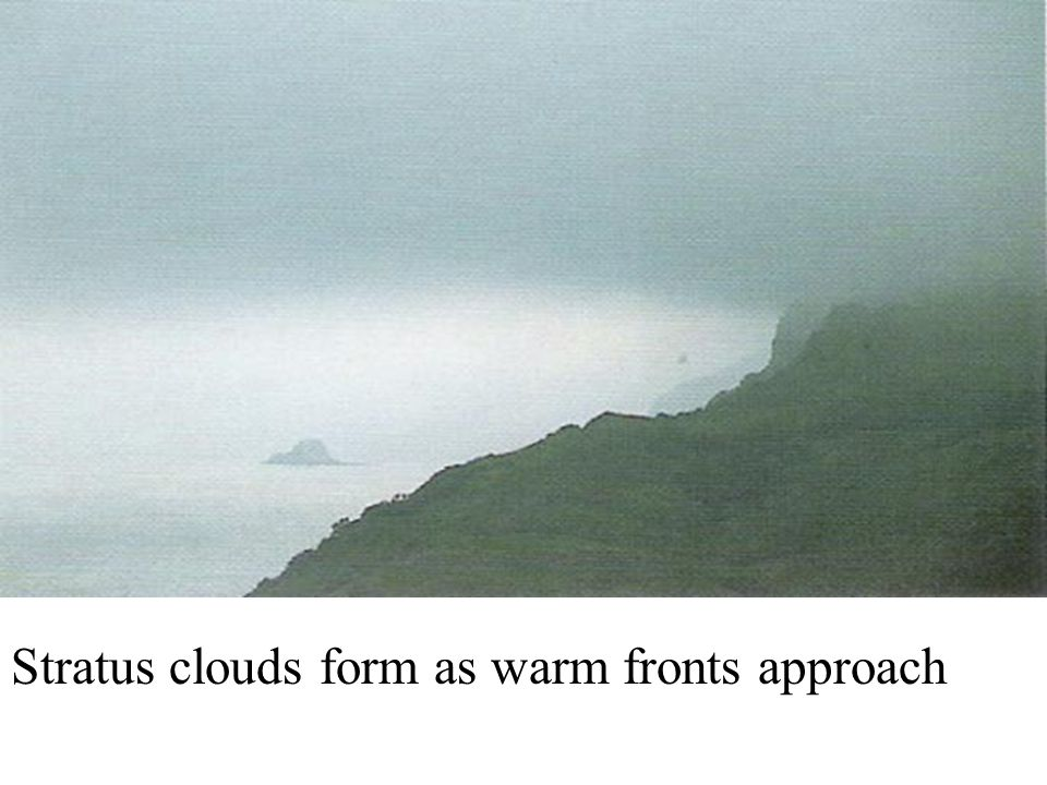 Stratus clouds form as warm fronts approach