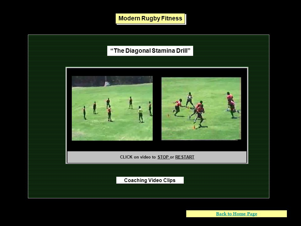 "Coaching Video Clips Modern Rugby Fitness ""The Diagonal Stamina Drill"" CLICK on video to STOP or RESTART Back to Home Page"