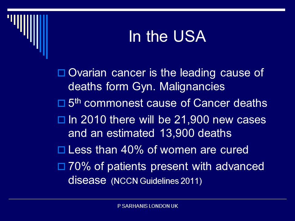 In the USA  Ovarian cancer is the leading cause of deaths form Gyn.