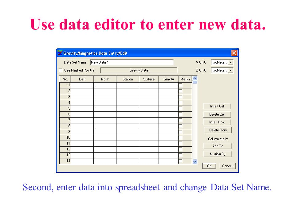 Use data editor to enter new data. Second, enter data into spreadsheet and change Data Set Name.