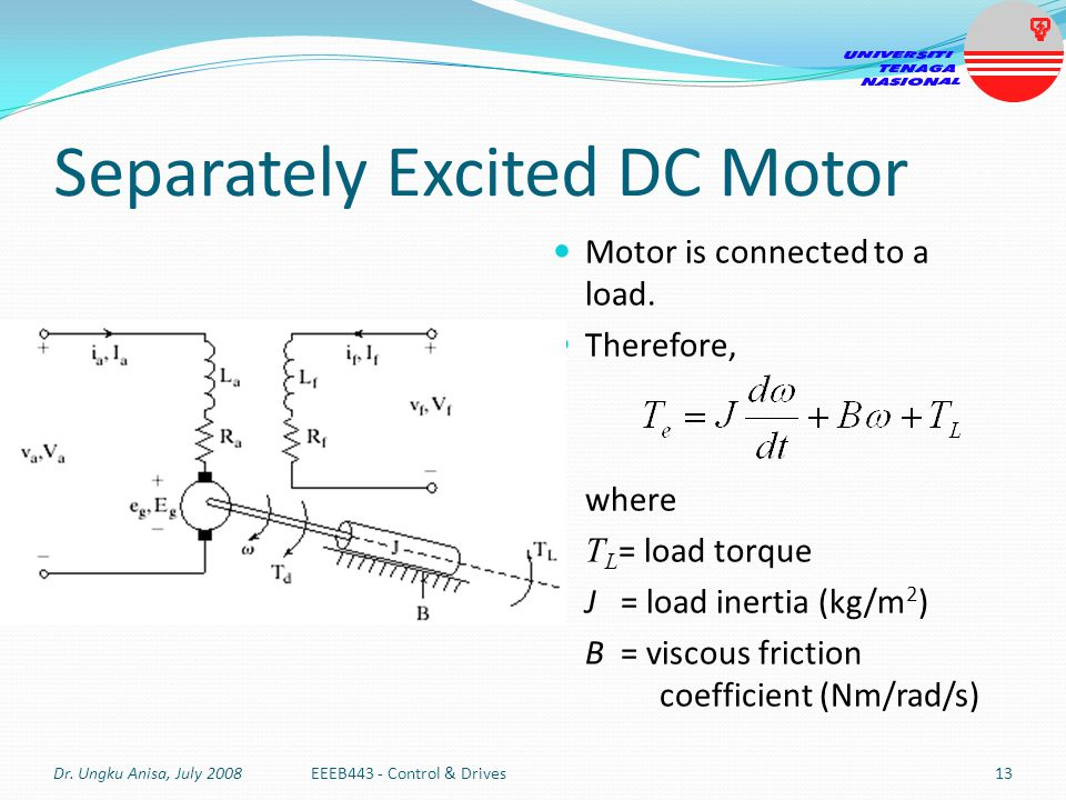 Separately Excited DC Motor Motor is connected to a load. Therefore, where T L = load torque J = load inertia (kg/m 2 ) B = viscous friction coefficie