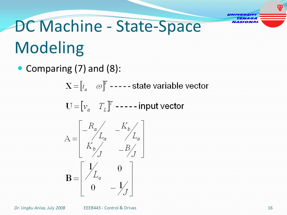 DC Machine - State-Space Modeling Comparing (7) and (8): Dr. Ungku Anisa, July 2008EEEB443 - Control & Drives16