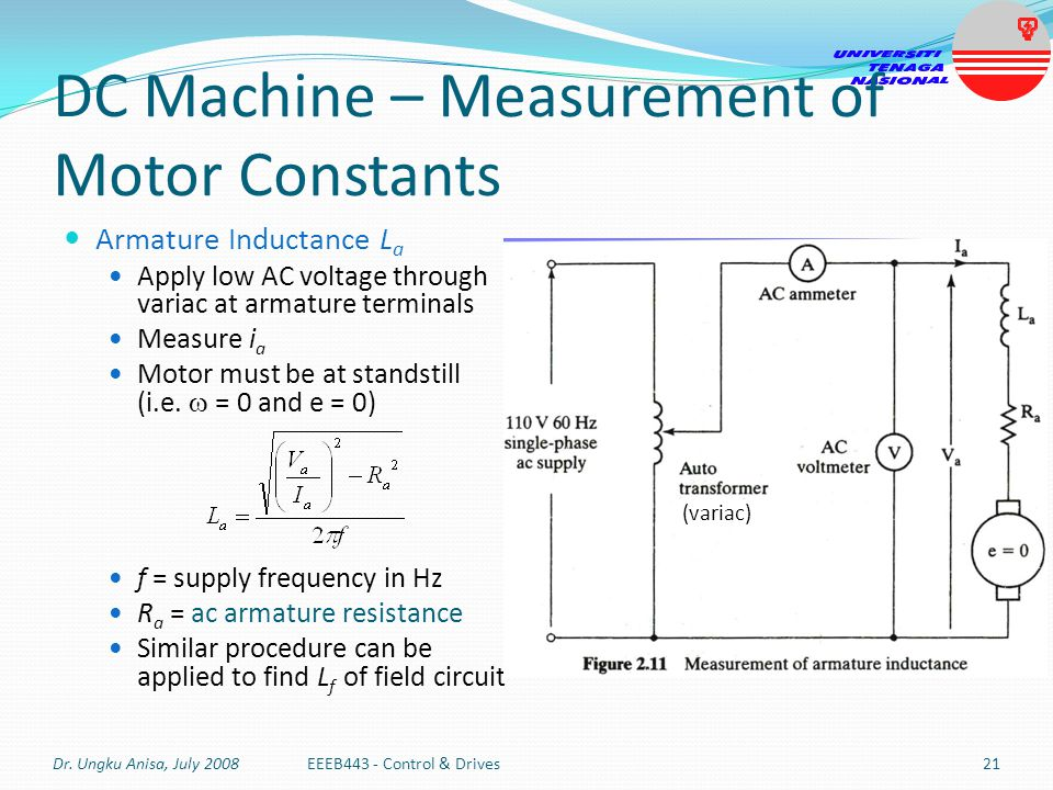 DC Machine – Measurement of Motor Constants Armature Inductance L a Apply low AC voltage through variac at armature terminals Measure i a Motor must b