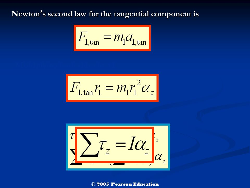 Newton ' s second law for the tangential component is Multiplying both sides by r1 Rotational analog of Newton's second law for a rigid body © 2005 Pearson Education