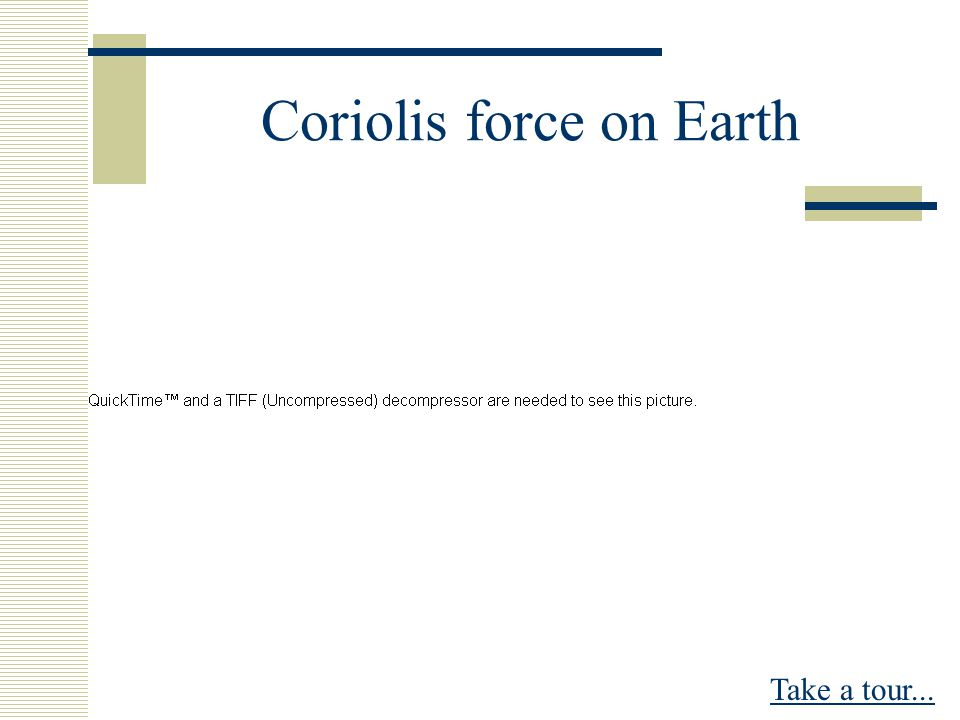 Coriolis force on Earth Take a tour...