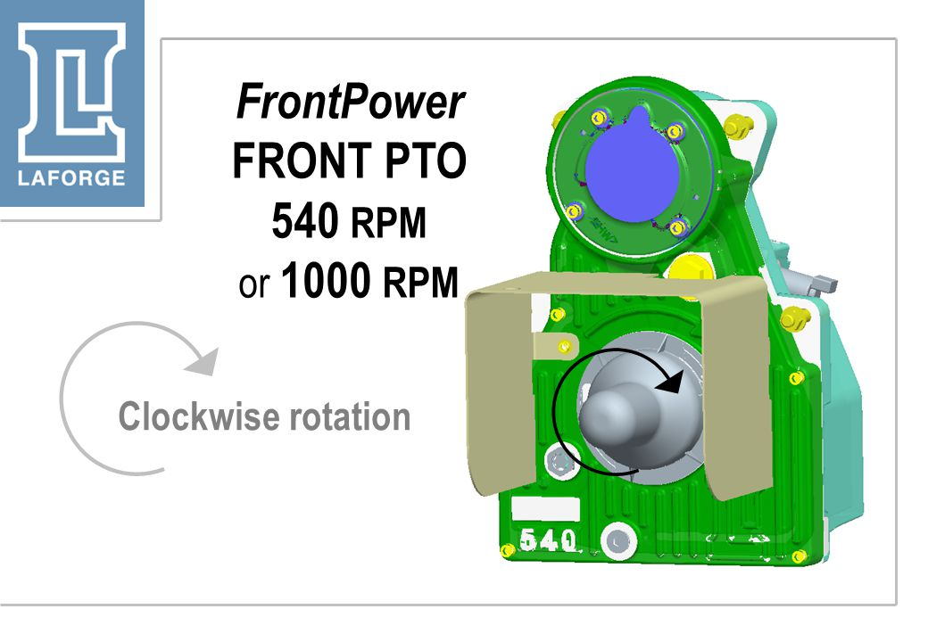 FrontPower FRONT PTO 540 RPM or 1000 RPM Clockwise rotation