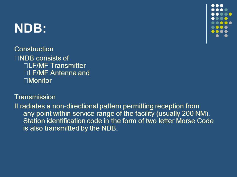 NDB: Construction NDB consists of LF/MF Transmitter LF/MF Antenna and Monitor Transmission It radiates a non-directional pattern permitting reception